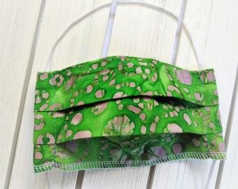 READY TO SHIP - Cotton Cloth Face Mask - Adjustable Face Mask - Reusable Face Mask - Washable Mask - Flat Elastic - green purple batik