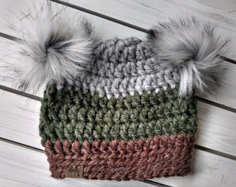 READY TO SHIP - Kids - 3-6 years - Hat - Beanie with double faux fur pompoms - gray green brown - alpaca acrylic - crochet - handmade gift
