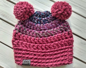READY TO SHIP - Baby - 6-12 months - Hat - Beanie with double yarn pom poms - pink purple gray blue - multi colored - crochet - handmade