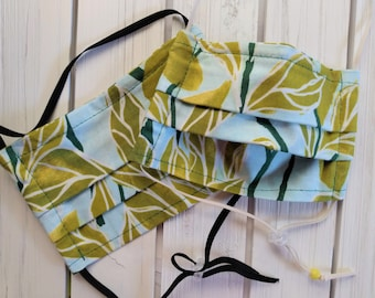 READY TO SHIP - Cotton Cloth Face Mask - Adjustable Face Mask - Reusable Face Mask - Washable Mask - Flat Elastic - green leaf print