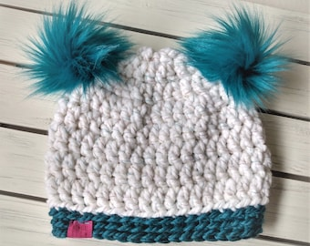 READY TO SHIP - Kids - 7-10 years - Hat - Beanie with double faux fur pompoms - white w/ rainbow tinsel teal blue - crochet - handmade gift