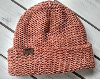 READY TO SHIP - Adult unisex - Hat - Slouchy Beanie - orange and white - premium acrylic - handmade machine knit - double thick brim
