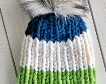 READY TO SHIP - Adult - Hat - Beanie w/ faux fur pompom -  blue white green - ribbed chunky knit - seattle seahawks - handmade gift - wool