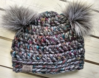 READY TO SHIP - Baby Hat - 3-6 months - Beanie with double faux fur pompoms - gray - purple - blue - wool acrylic - crochet - handmade gift