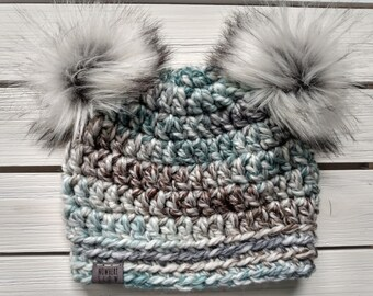 READY TO SHIP - Toddler - 12-24 months - Hat - Beanie with double faux fur pompoms - green gray brown - wool acrylic - crochet - handmade
