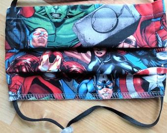 READY TO SHIP - Pleated Cotton Cloth Face Mask - Adjustable Face Mask - Reusable Face Mask - Washable - Marvel Avengers - superheroes - hulk
