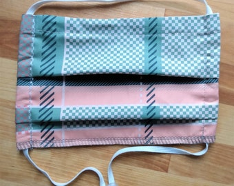 READY TO SHIP - Pleated Cotton Cloth Face Mask - Adjustable Face Mask - Reusable Face Mask - Washable Mask - Flat Elastic - Pink Retro Plaid