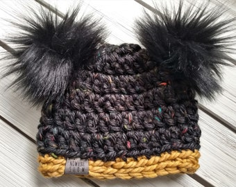 READY TO SHIP - Baby Hat - 3-6 months - Beanie with double faux fur pompoms - black - mustard - wool acrylic - crochet - handmade gift