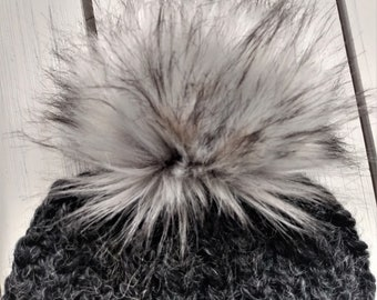 READY TO SHIP - Ribbed Adult - Hat - Beanie w/ big faux fur removable pom pom - charcoal black - hand knit - handmade gift