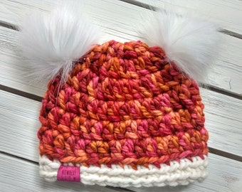 READY TO SHIP - Baby Hat - 3-6 months - Beanie with double faux fur pompoms - pink - orange - wool acrylic - crochet - handmade gift