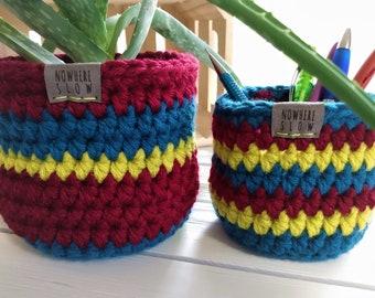 "READY TO SHIP - Two Nesting Baskets - 4"" & 5"" Crochet Baskets - Round storage organizer - plant home decor - waldorf - montessori - retro"