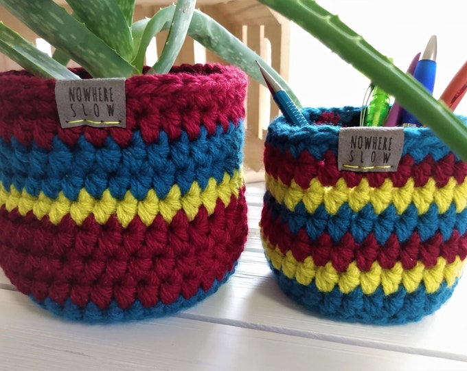 "Featured listing image: READY TO SHIP - Two Nesting Baskets - 4"" & 5"" Crochet Baskets - Round storage organizer - plant home decor - waldorf - montessori - retro"