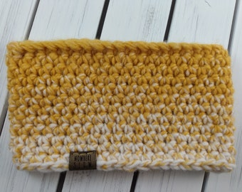 READY TO SHIP - Adult - Thick Headband - Ear Warmer - Short Cowl - mustard yellow and cream ombre - Striped - handmade gift - crochet - boho