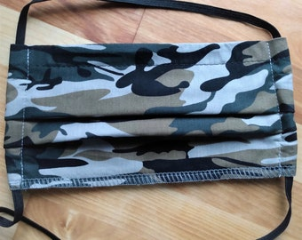 READY TO SHIP - Pleated Cotton Cloth Face Mask - Adjustable Face Mask - Reusable mask - Washable Mask - green brown black camouflage camo