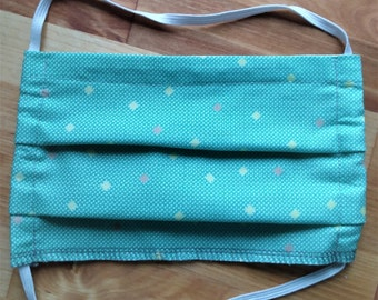 READY TO SHIP - Pleated Cotton Cloth Face Mask - Adjustable Face Mask - Reusable Face mask - Washable Mask - retro mint green check pattern
