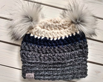 READY TO SHIP - Baby - 6-12 months - Hat - Beanie w/ double fur pom poms - white navy blue black charcoal - crochet - handmade - baby shower