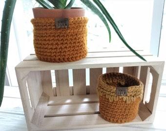 "READY TO SHIP - Two Nesting Baskets - 3.5"" & 4"" Crochet Baskets - Round storage organizer - plant home decor - waldorf/montessori - yellow"