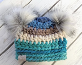 READY TO SHIP - Baby Hat - 0-3 months - Beanie with double faux fur pompoms - blue gray stripes - wool acrylic - crochet - handmade gift