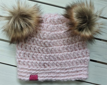 READY TO SHIP - Kids - 3-6 years - Hat - Beanie with double faux fur pompoms - pale pink - alpaca wool acrylic - crochet - handmade gift