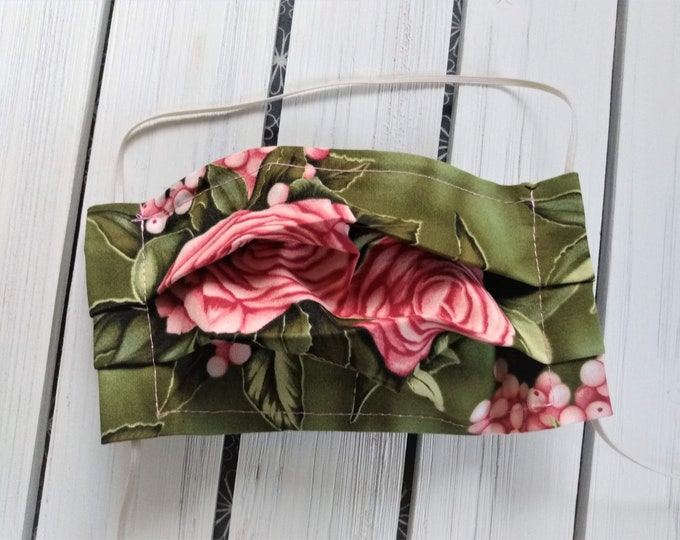 Featured listing image: READY TO SHIP - Cotton Cloth Face Mask - Adjustable Face Mask - Reusable Face Mask - Washable Mask - Flat Elastic - large pink roses - green