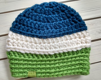 READY TO SHIP - Adult - Hat - Beanie - white green blue - seattle seahawks- wool acrylic - crochet - handmade gift