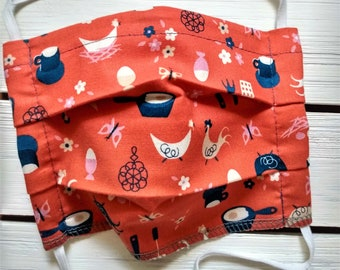READY TO SHIP - Pleated Cotton Cloth Face Mask - Adjustable Mask - Reusable Face Mask - Washable Mask - Flat Elastic - Farm Chicken Eggs