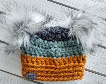 READY TO SHIP - Baby Hat - 0-3 months - Beanie with double faux fur pompoms - gray blue yellow - wool acrylic - crochet - handmade gift