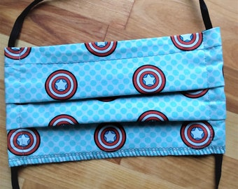 READY TO SHIP - Pleated Cotton Cloth Face Mask - Adjustable Face Mask - Reusable Mask - Washable - Marvel Captain America shield - Avengers