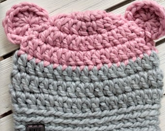 READY TO SHIP - Toddler - 12-24 months - Bear - Hat Beanie - light pink gray - crochet - photography prop - baby shower gift - handmade