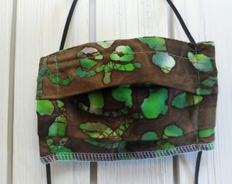 READY TO SHIP  - Kids - 5 to 9 years old - Cotton Cloth Face Mask - Adjustable - Reusable Washable Face Mask - Elastic - brown green batik