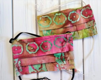 READY TO SHIP - Cotton Cloth Face Mask - Adjustable Face Mask - Reusable Face Mask - Washable Mask - Flat Elastic - pink green batik