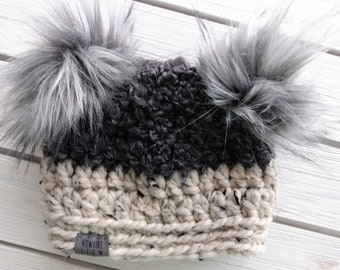 READY TO SHIP - Baby Hat - 3-6 months - Beanie with double faux fur pompoms - charcoal gray cream - bear hat - crochet - handmade gift