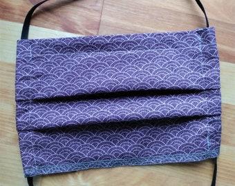 READY TO SHIP - Pleated Cotton Cloth Face Mask - Adjustable Mask - Reusable mask - Washable Face Mask - deep purple mauve rainbow pattern