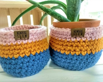 "READY TO SHIP - Two Nesting Baskets - 4"" Crochet Baskets - storage organizer - plant home decor - waldorf montessori - blue yellow pink"