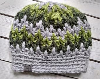 READY TO SHIP - Adult - Hat - Beanie - gray green - spike zig zag striped - alpaca wool acrylic - crochet - handmade gift