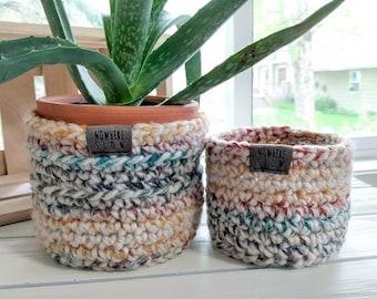 "READY TO SHIP - Two Nesting Baskets - 3"" & 4"" Crochet Baskets - Round storage organizer - plant home decor - waldorf/montessori - rainbow"