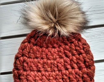 READY TO SHIP - Baby - Newborn - Hat - Beanie w/ faux fur pompom - rusty orange - wool acrylic blend - crochet - handmade - baby shower gift