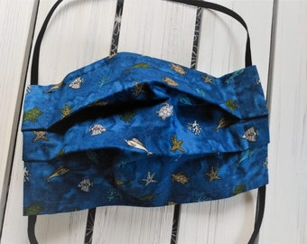 READY TO SHIP - Cotton Cloth Face Mask - Adjustable Face Mask - Reusable Face Mask - Washable Mask - Flat Elastic - tropical reef sea life