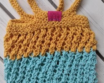 Washable Lightweight Produce Bag - Mesh Market Bag - cotton - reusable - zero waste - eco-friendly - yellow aqua blue - knit - handmade gift