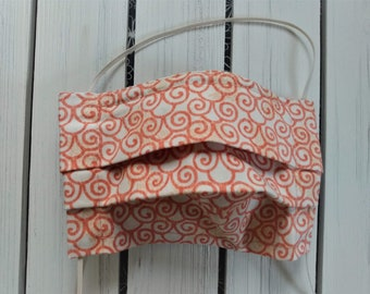 READY TO SHIP - Cotton Cloth Face Mask - Adjustable Face Mask - Reusable Face Mask - Washable Mask - Flat Elastic - orange white swirls