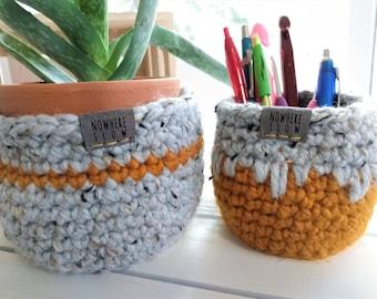 "READY TO SHIP - Two Nesting Baskets - 4"" Crochet Baskets - Round storage organizer - plant home decor - waldorf/montessori - gray mustard"