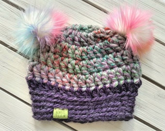 READY TO SHIP - Baby - 6-12 months - Hat - Beanie with double fur pom poms - purple pink rainbow - bear - crochet - handmade - baby shower
