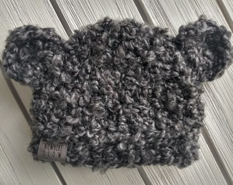 READY TO SHIP - Baby - 6-12 months- Bear Hat - Beanie - charcoal gray - crochet - photography prop - baby shower gift - handmade gift