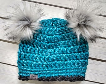 READY TO SHIP - Kids - 3-6 years - Hat - Beanie with double faux fur pompoms - teal blue black - wool acrylic - crochet - handmade gift