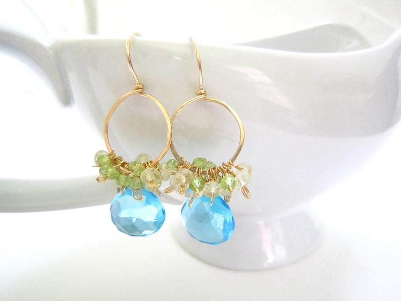 Swiss Blue Quartz Gold Hoop Earrings Green Peridot 14k Gold Handmade Jewelry Gemstone Teardrops Lemon Quartz