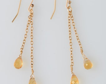 citrine  faceted briolettes, 14k gold fill chain French earwire