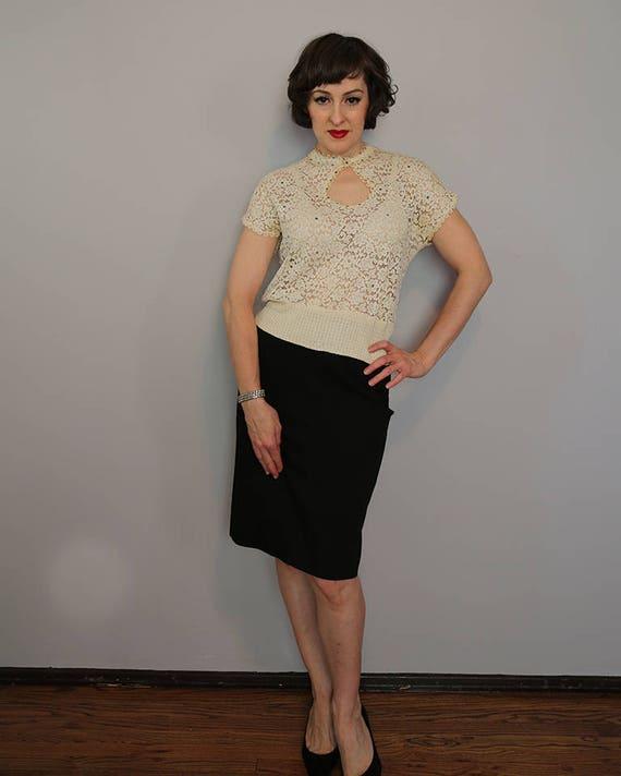 1950s rhinestone blouse