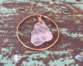 Rose Quartz Necklace / Crystal Necklace / Hammered Copper Hoop / Nina Carina / Spring Gifts / Gift Ideas / Jewelry / Necklace / Mothers Day