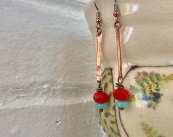 Dangle Drop Earrings / Thin Copper Bar / Faceted Czech Glass Beads / Coral Faceted Bead / Vintage Blue Bead / Gift Idea / Nina Carina
