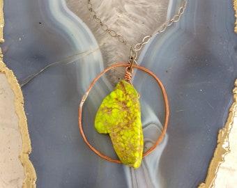 Hammered Copper Hoop / Green Howlite / Hammered Metal / Circle / Hoop /  Nina Carina / Copper Hoop Pendant / Gift for Her / Spring Green